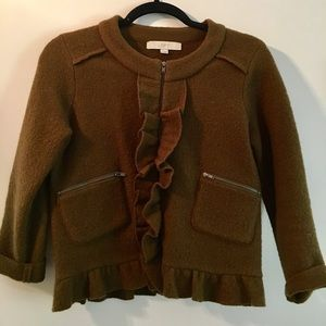 XS Ann Taylor Loft Merino Wool jacket with ruffles